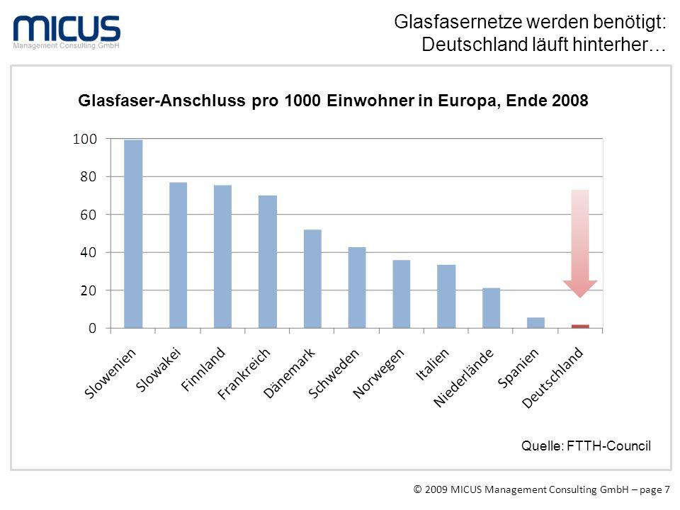 © 2009 MICUS Management Consulting GmbH – page 7 Glasfasernetze werden benötigt: Deutschland läuft hinterher… Glasfaser-Anschluss pro 1000 Einwohner i