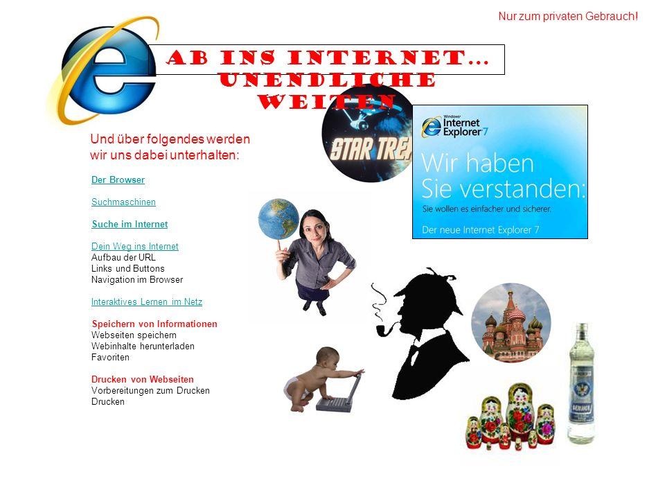 Der Browser Suchmaschinen Suche im Internet Dein Weg ins Internet Aufbau der URL Links und Buttons Navigation im Browser Interaktives Lernen im Netz S