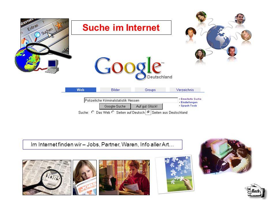 Suche im Internet Im Internet finden wir – Jobs, Partner, Waren, Info aller Art…