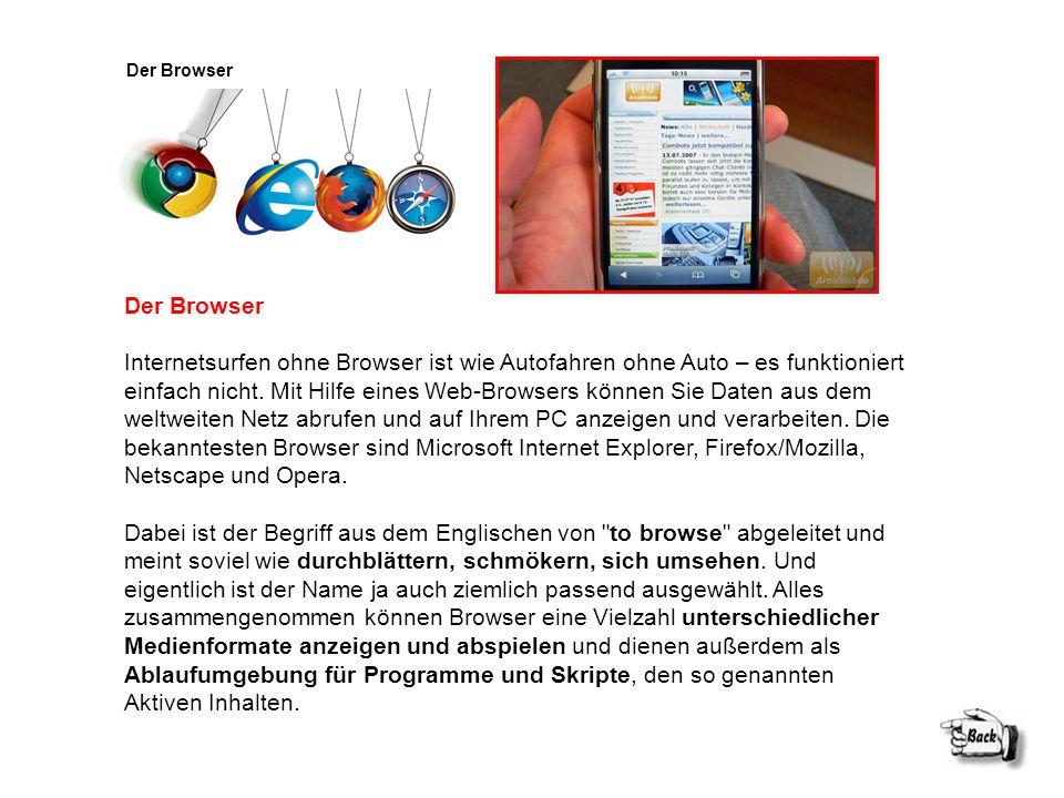 Der Browser Internetsurfen ohne Browser ist wie Autofahren ohne Auto – es funktioniert einfach nicht. Mit Hilfe eines Web-Browsers können Sie Daten au