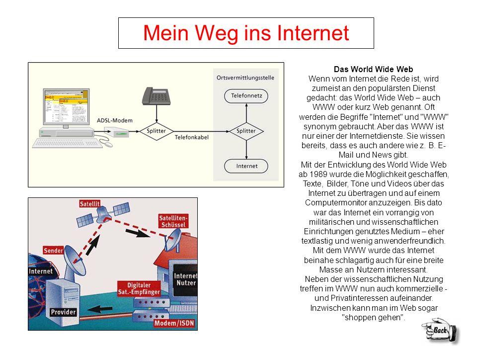 Mein Weg ins Internet Das World Wide Web Wenn vom Internet die Rede ist, wird zumeist an den populärsten Dienst gedacht: das World Wide Web – auch WWW