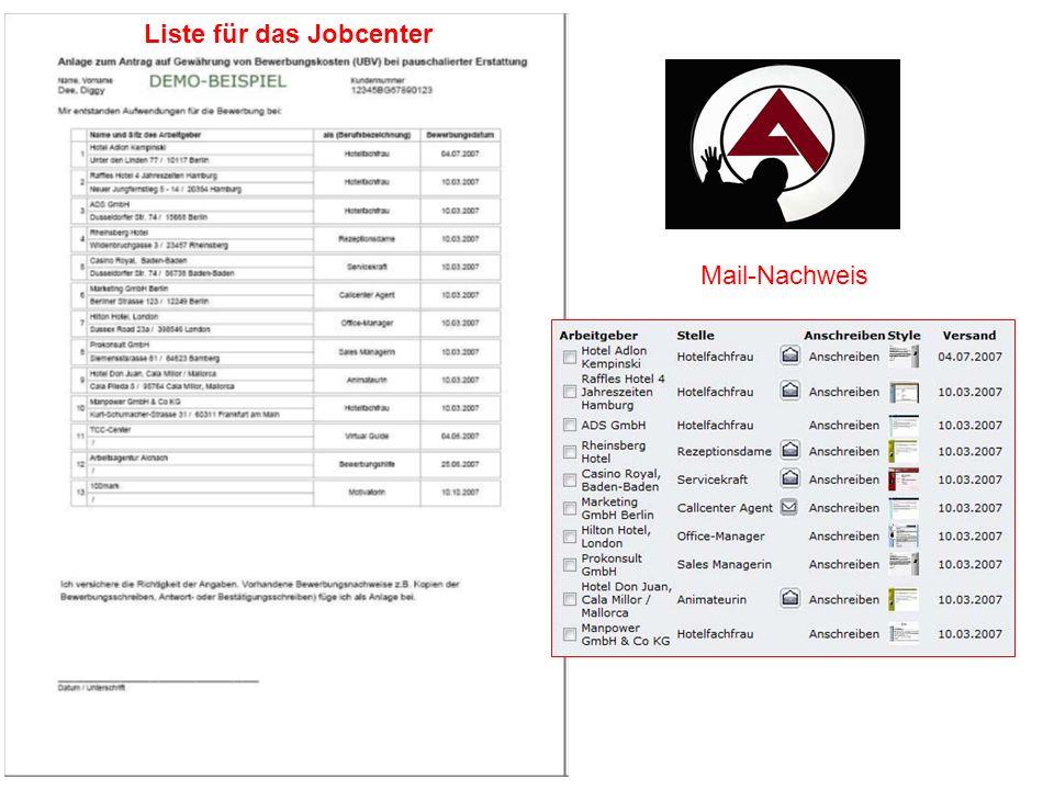 Mail-Nachweis Liste für das Jobcenter