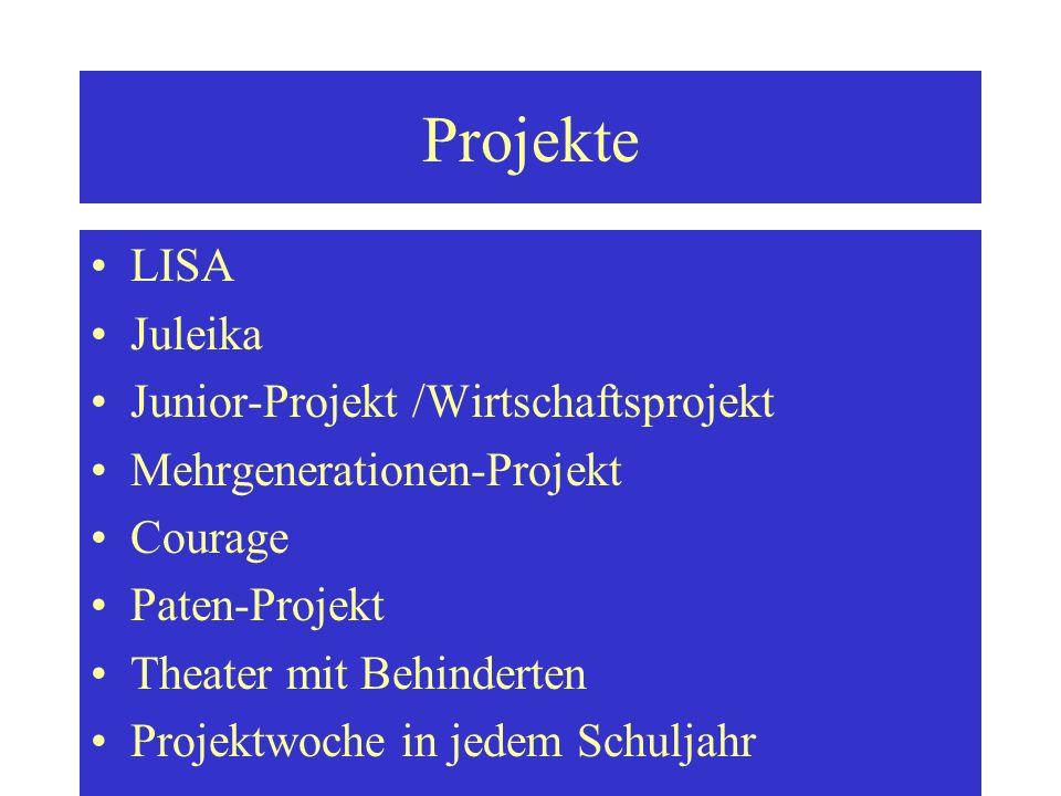 Projekte LISA Juleika Junior-Projekt /Wirtschaftsprojekt Mehrgenerationen-Projekt Courage Paten-Projekt Theater mit Behinderten Projektwoche in jedem