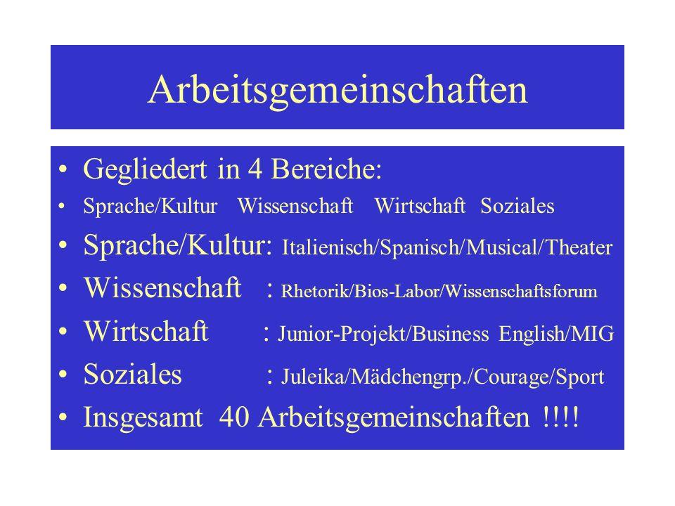 Arbeitsgemeinschaften Gegliedert in 4 Bereiche: Sprache/Kultur Wissenschaft Wirtschaft Soziales Sprache/Kultur: Italienisch/Spanisch/Musical/Theater W