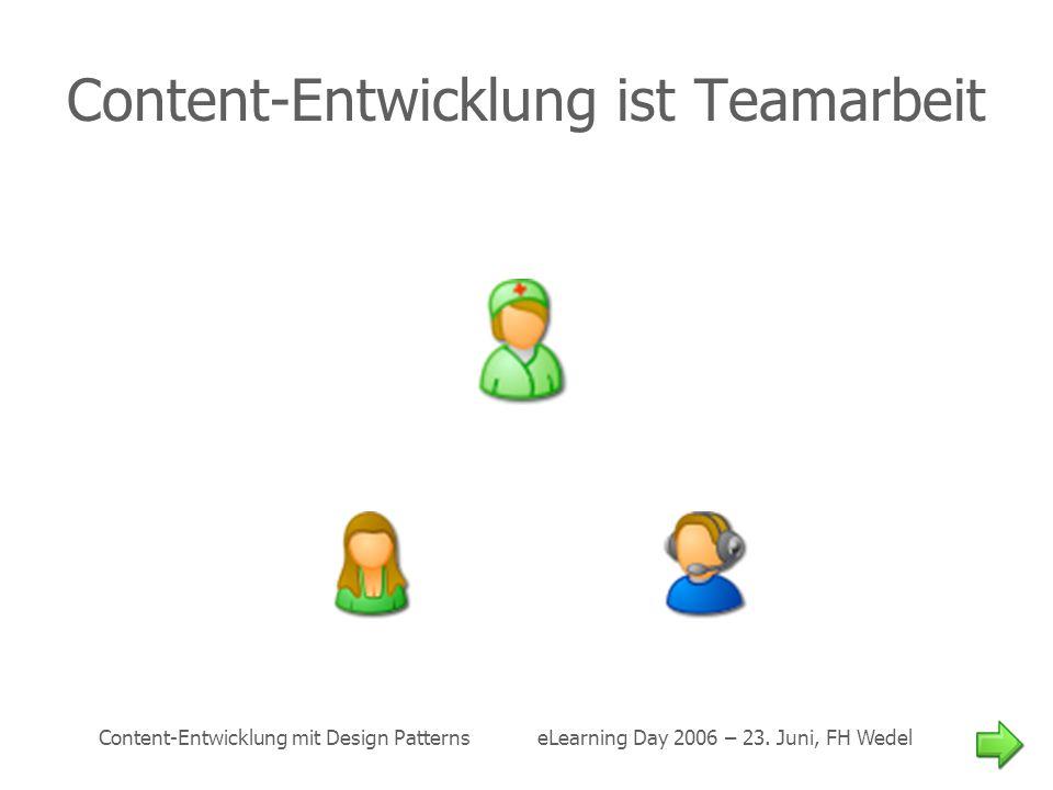 Content-Entwicklung mit Design Patterns eLearning Day 2006 – 23. Juni, FH Wedel Content-Entwicklung ist Teamarbeit