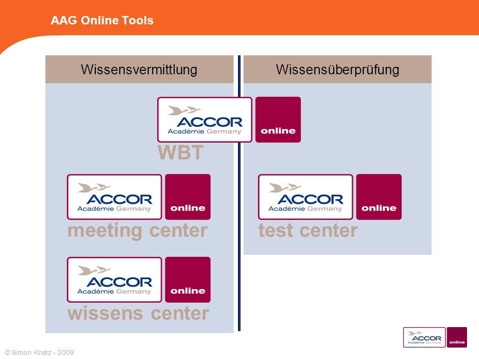AAG Online Tools WissensvermittlungWissensüberprüfung meeting centerwissens centertest centerWBT © Simon Knatz - 2009