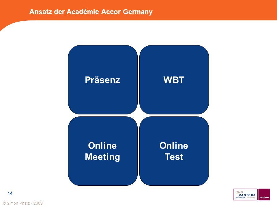 14 Ansatz der Académie Accor Germany Präsenz Online Meeting Online Test WBT © Simon Knatz - 2009