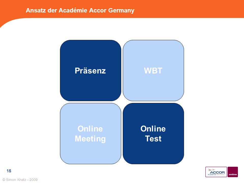 15 Ansatz der Académie Accor Germany Präsenz Online Meeting Online Test WBT © Simon Knatz - 2009