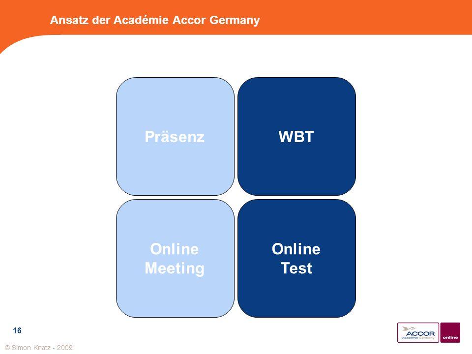 16 Ansatz der Académie Accor Germany Präsenz Online Meeting Online Test WBT © Simon Knatz - 2009