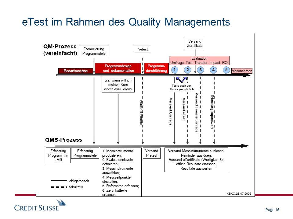 Page 16 eTest im Rahmen des Quality Managements