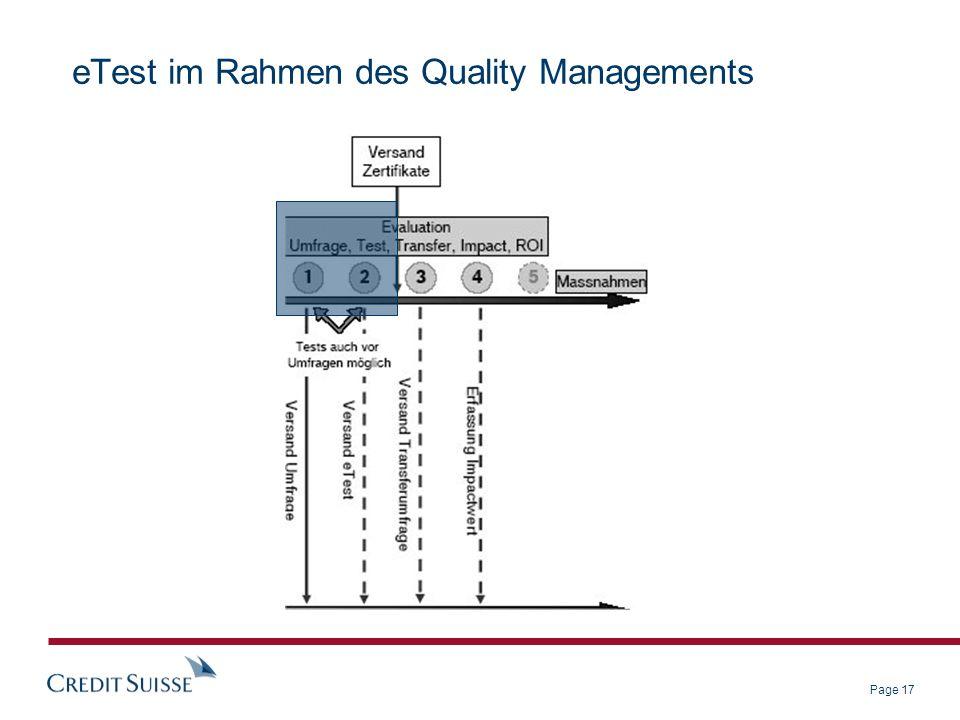 Page 17 eTest im Rahmen des Quality Managements