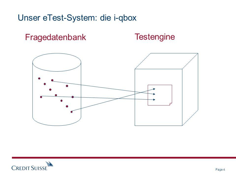 Page 4 Unser eTest-System: die i-qbox Fragedatenbank Testengine