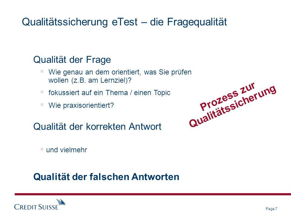 Page 8 Qualitätssicherung eTest – die ITEM-Analyse