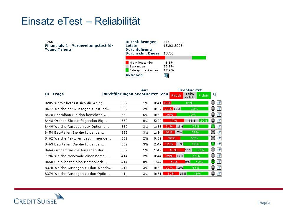 Page 9 Einsatz eTest – Reliabilität