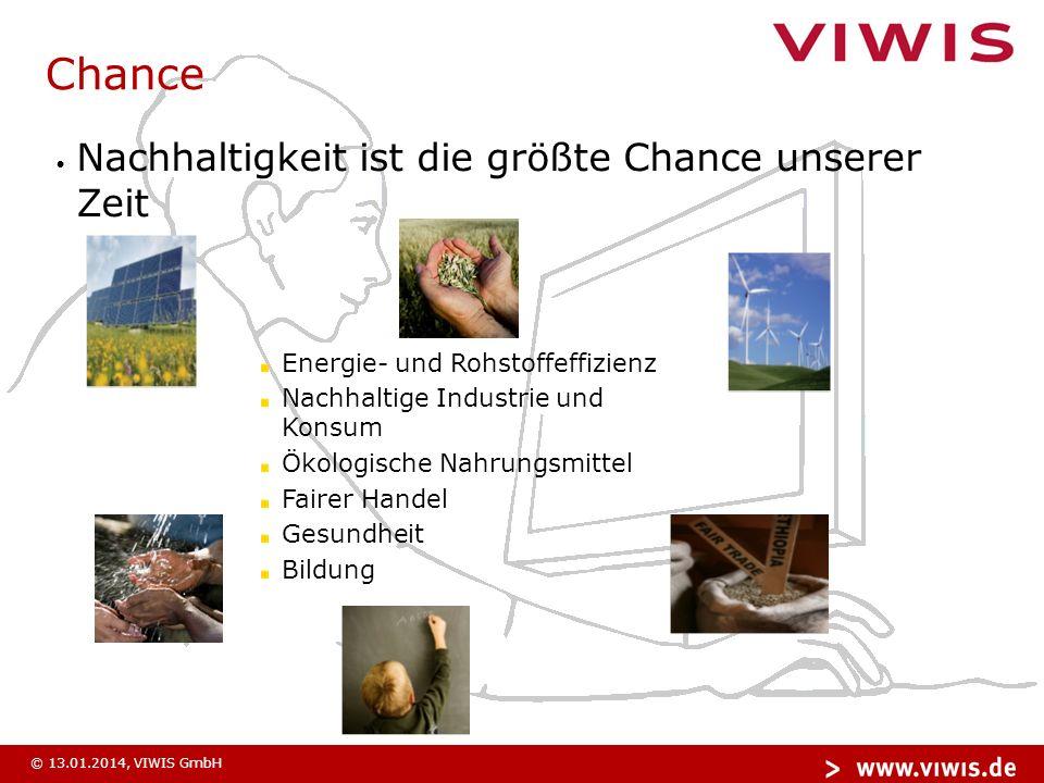 © 13.01.2014, VIWIS GmbH Chance Nachhaltigkeit ist die größte Chance unserer Zeit Energie- und Rohstoffeffizienz Nachhaltige Industrie und Konsum Ökologische Nahrungsmittel Fairer Handel Gesundheit Bildung