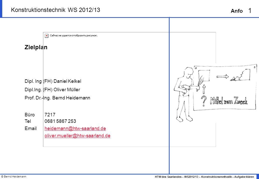 © Bernd Heidemann 2 HTW des Saarlandes – WS2012/13 – Konstruktionsmethodik – Aufgabe klären Anfo Organisatorisches klären Mitglieder bestimmen Zeitplan erstellen Im Team das Produkt definieren, bezeichnen Termine zur Team-Abstimmung fest fixieren Mind.