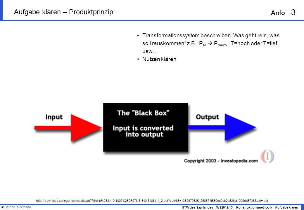 © Bernd Heidemann 3 HTW des Saarlandes – WS2012/13 – Konstruktionsmethodik – Aufgabe klären Anfo Aufgabe klären – Produktprinzip http://download.sprin