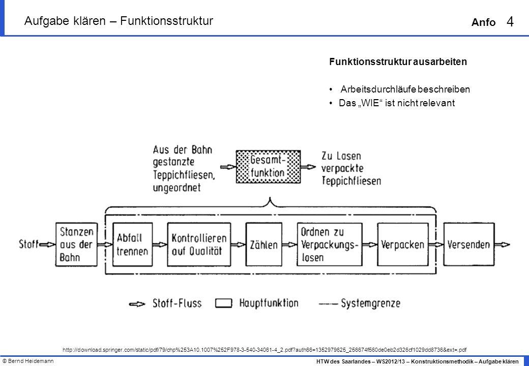 © Bernd Heidemann 4 HTW des Saarlandes – WS2012/13 – Konstruktionsmethodik – Aufgabe klären Anfo Aufgabe klären – Funktionsstruktur http://download.sp