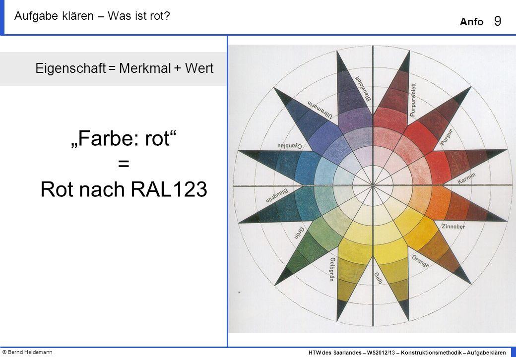© Bernd Heidemann 9 HTW des Saarlandes – WS2012/13 – Konstruktionsmethodik – Aufgabe klären Anfo Aufgabe klären – Was ist rot? Eigenschaft = Merkmal +