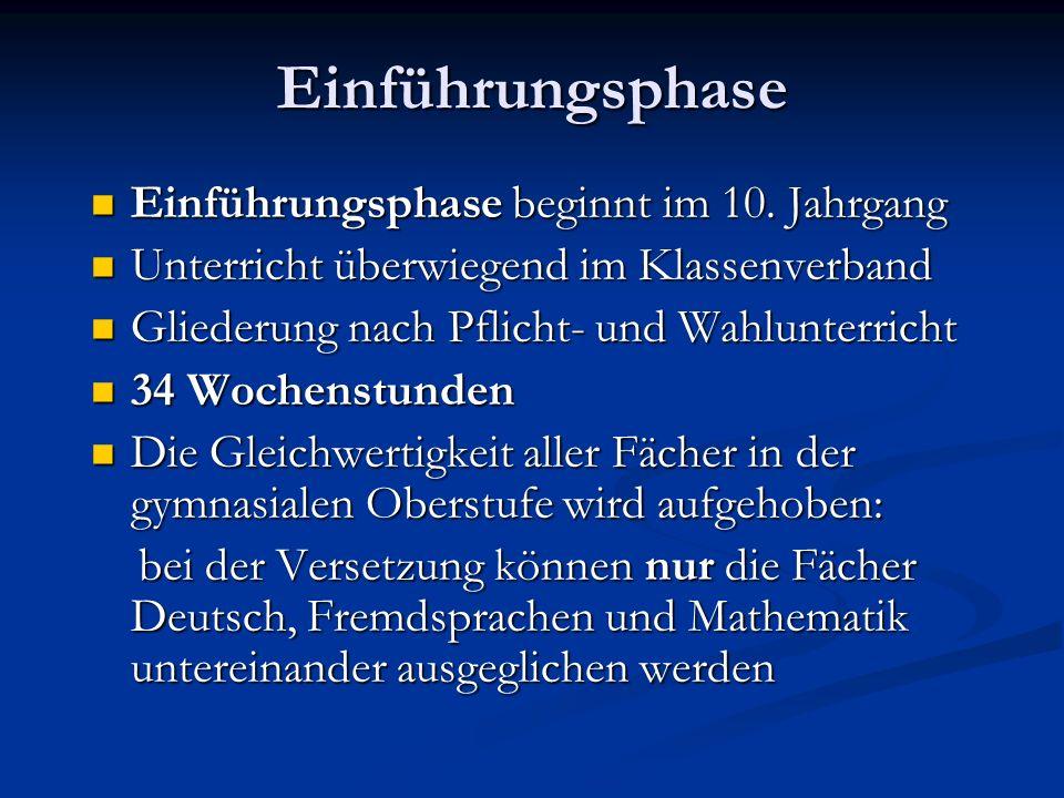 Einführungsphase Einführungsphase beginnt im 10. Jahrgang Einführungsphase beginnt im 10.