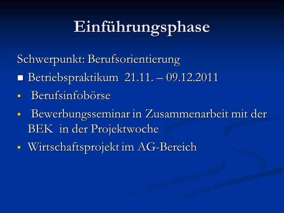 Einführungsphase Schwerpunkt: Berufsorientierung Betriebspraktikum 21.11. – 09.12.2011 Betriebspraktikum 21.11. – 09.12.2011 Berufsinfobörse Berufsinf