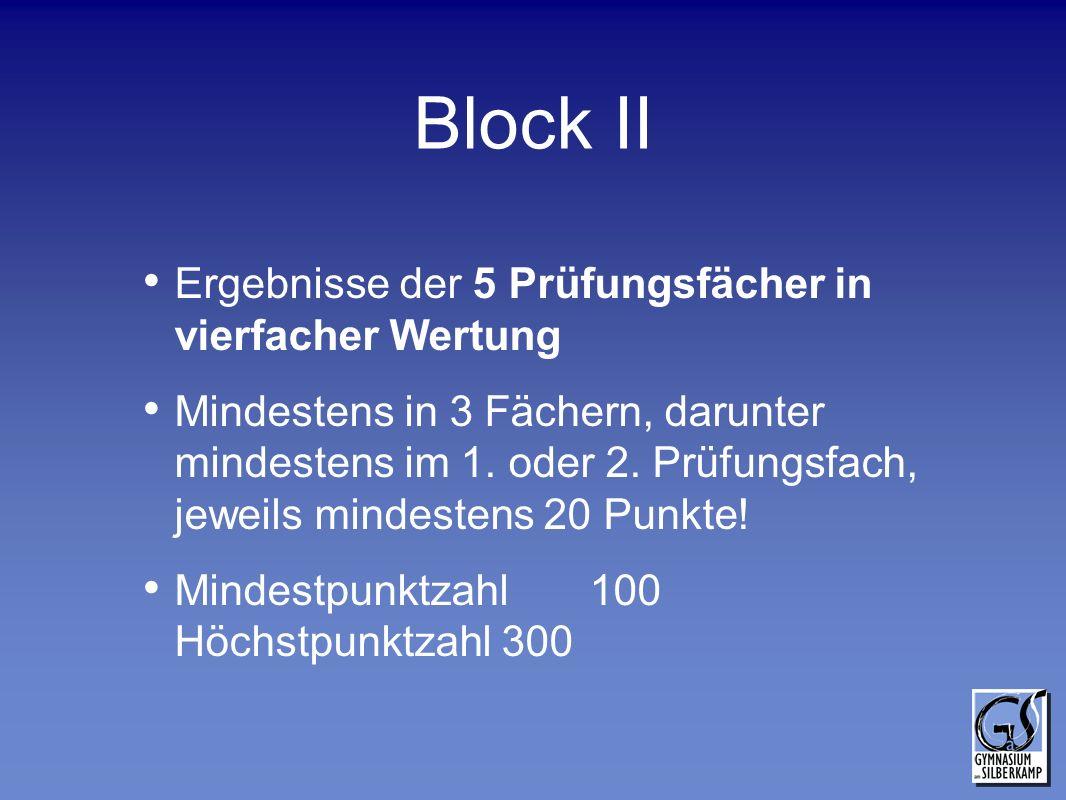 Block II Ergebnisse der 5 Prüfungsfächer in vierfacher Wertung Mindestens in 3 Fächern, darunter mindestens im 1. oder 2. Prüfungsfach, jeweils mindes