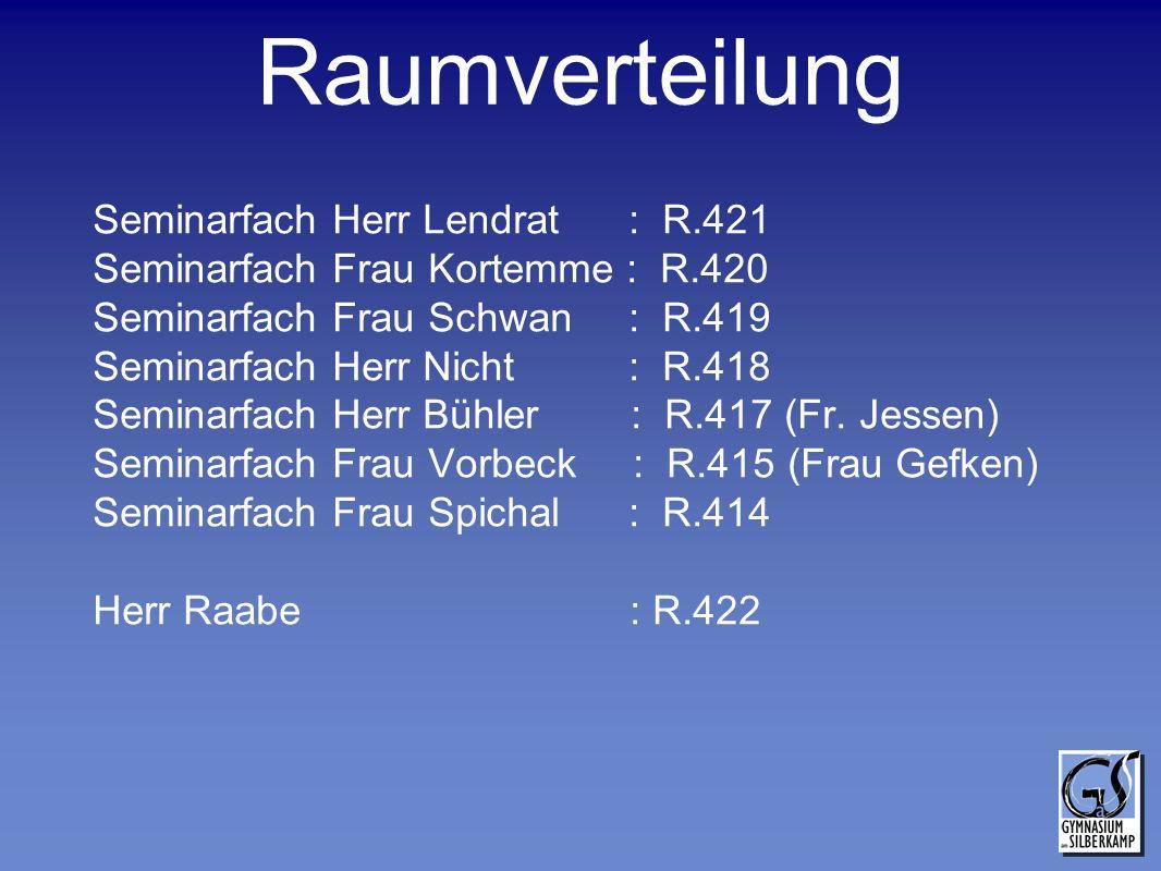 Raumverteilung Seminarfach Herr Lendrat : R.421 Seminarfach Frau Kortemme : R.420 Seminarfach Frau Schwan : R.419 Seminarfach Herr Nicht : R.418 Semin