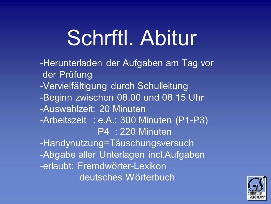 Schrftl. Abitur -Herunterladen der Aufgaben am Tag vor der Prüfung -Vervielfältigung durch Schulleitung -Beginn zwischen 08.00 und 08.15 Uhr -Auswahlz