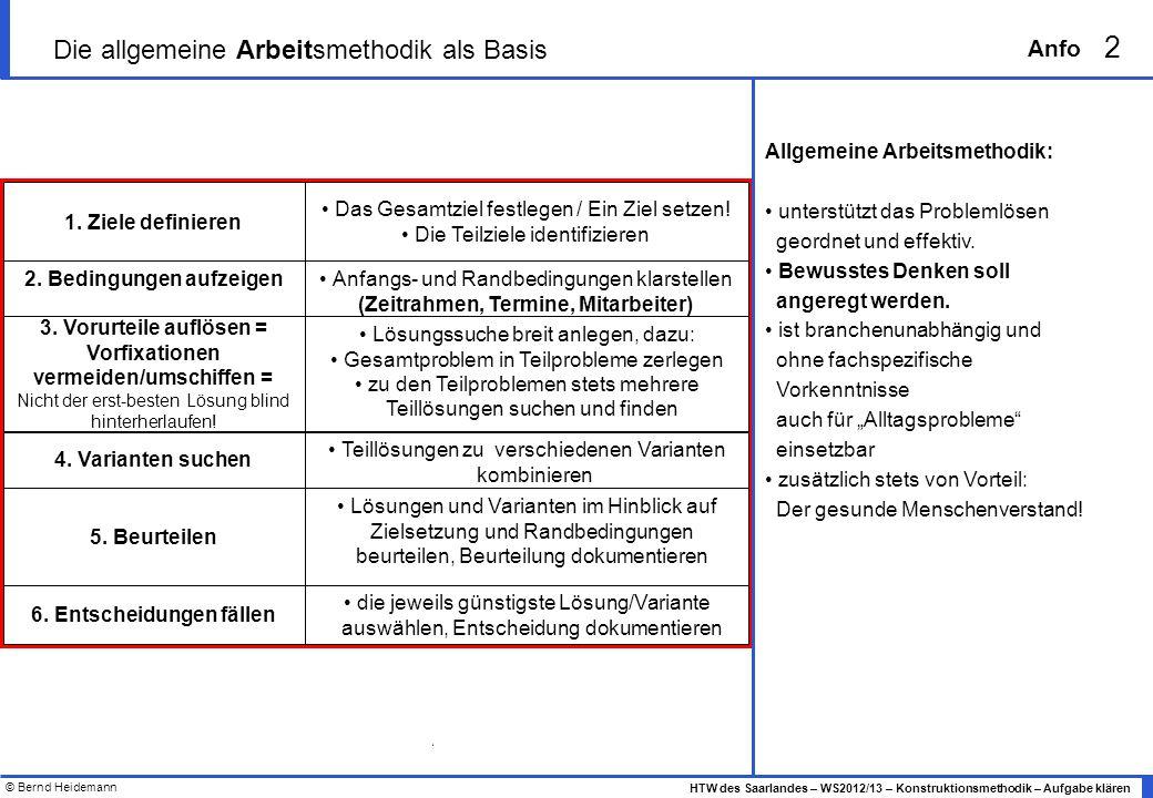 © Bernd Heidemann 2 HTW des Saarlandes – WS2012/13 – Konstruktionsmethodik – Aufgabe klären Anfo Lösungssuche breit anlegen, dazu: Gesamtproblem in Te