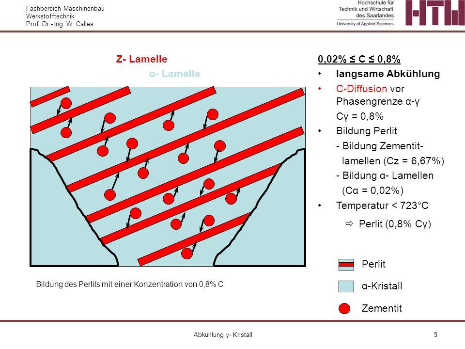 Fachbereich Maschinenbau Werkstofftechnik Prof. Dr.- Ing. W. Calles Abkühlung γ- Kristall5 α-Kristall Perlit 0,02% C 0,8% langsame Abkühlung C-Diffusi
