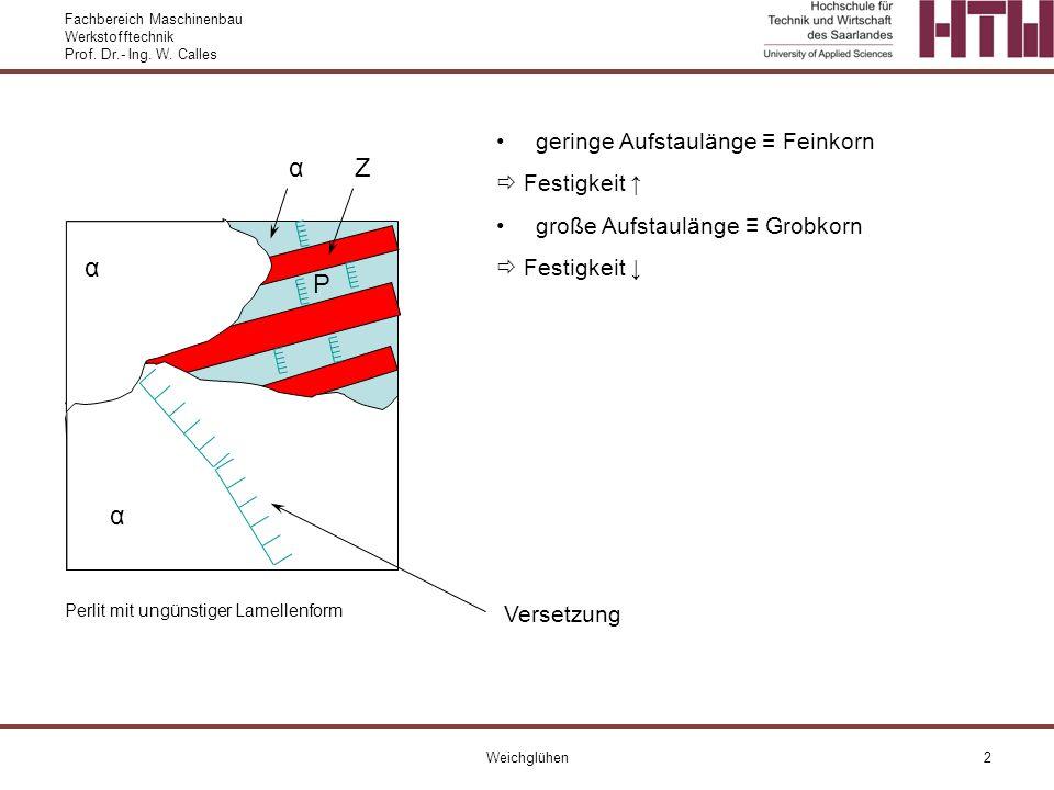Fachbereich Maschinenbau Werkstofftechnik Prof. Dr.- Ing. W. Calles Weichglühen2 Perlit mit ungünstiger Lamellenform α α geringe Aufstaulänge Feinkorn