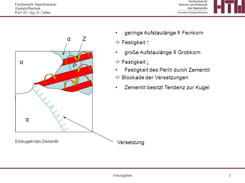 Fachbereich Maschinenbau Werkstofftechnik Prof. Dr.- Ing. W. Calles Weichglühen3 α α geringe Aufstaulänge Feinkorn Festigkeit große Aufstaulänge Grobk
