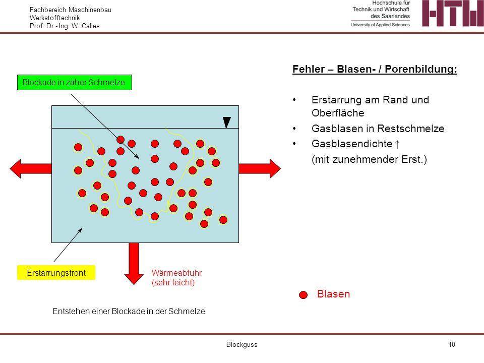 Fachbereich Maschinenbau Werkstofftechnik Prof. Dr.- Ing. W. Calles Blockguss10 Fehler – Blasen- / Porenbildung: Erstarrung am Rand und Oberfläche Gas