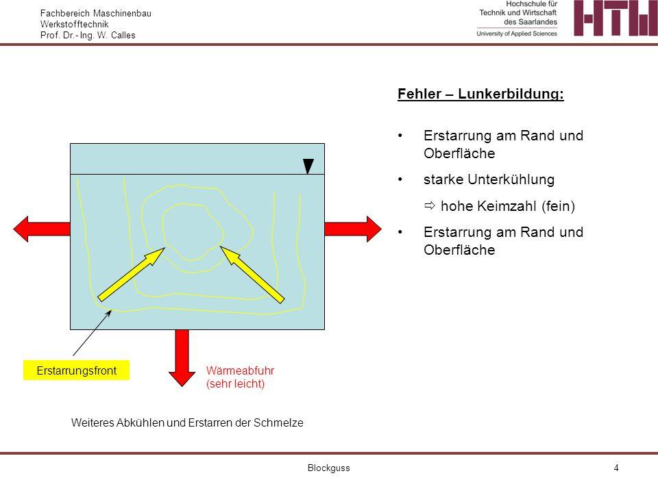 Fachbereich Maschinenbau Werkstofftechnik Prof. Dr.- Ing. W. Calles Blockguss4 Fehler – Lunkerbildung: Erstarrung am Rand und Oberfläche starke Unterk