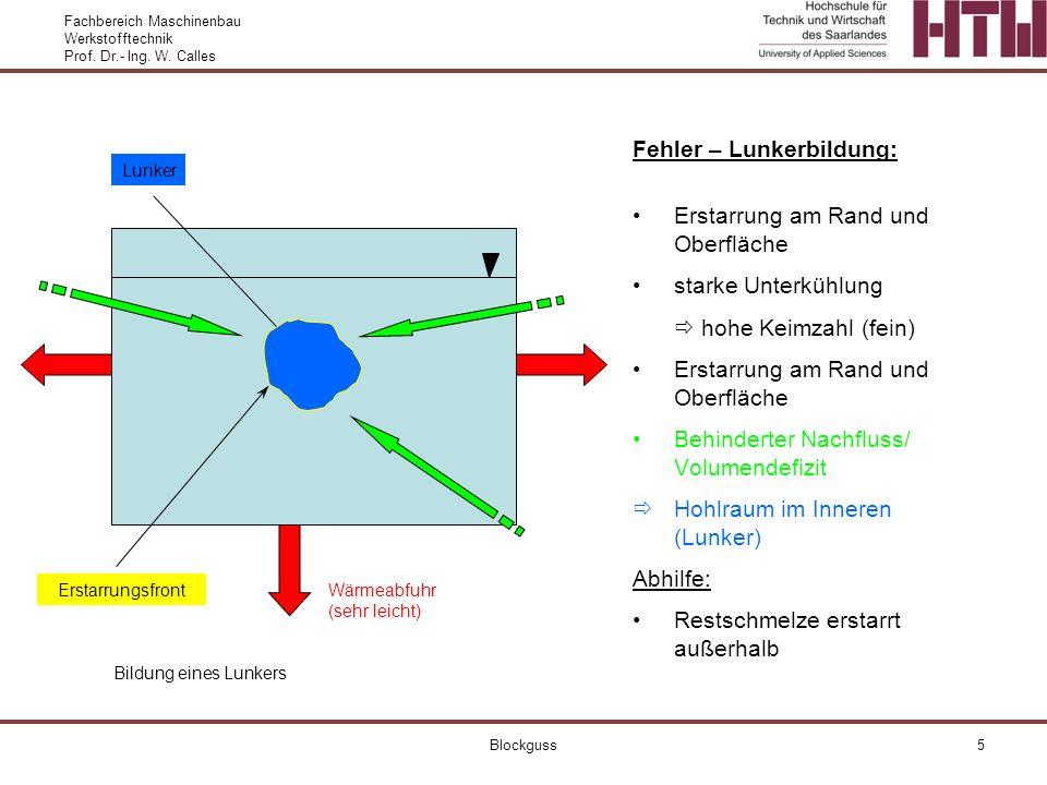 Fachbereich Maschinenbau Werkstofftechnik Prof. Dr.- Ing. W. Calles Blockguss5 Fehler – Lunkerbildung: Erstarrung am Rand und Oberfläche starke Unterk