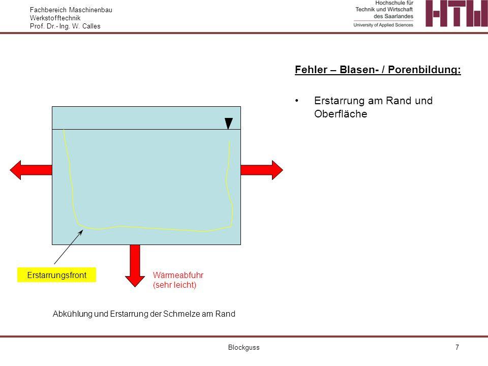 Fachbereich Maschinenbau Werkstofftechnik Prof. Dr.- Ing. W. Calles Blockguss7 Fehler – Blasen- / Porenbildung: Erstarrung am Rand und Oberfläche Wärm