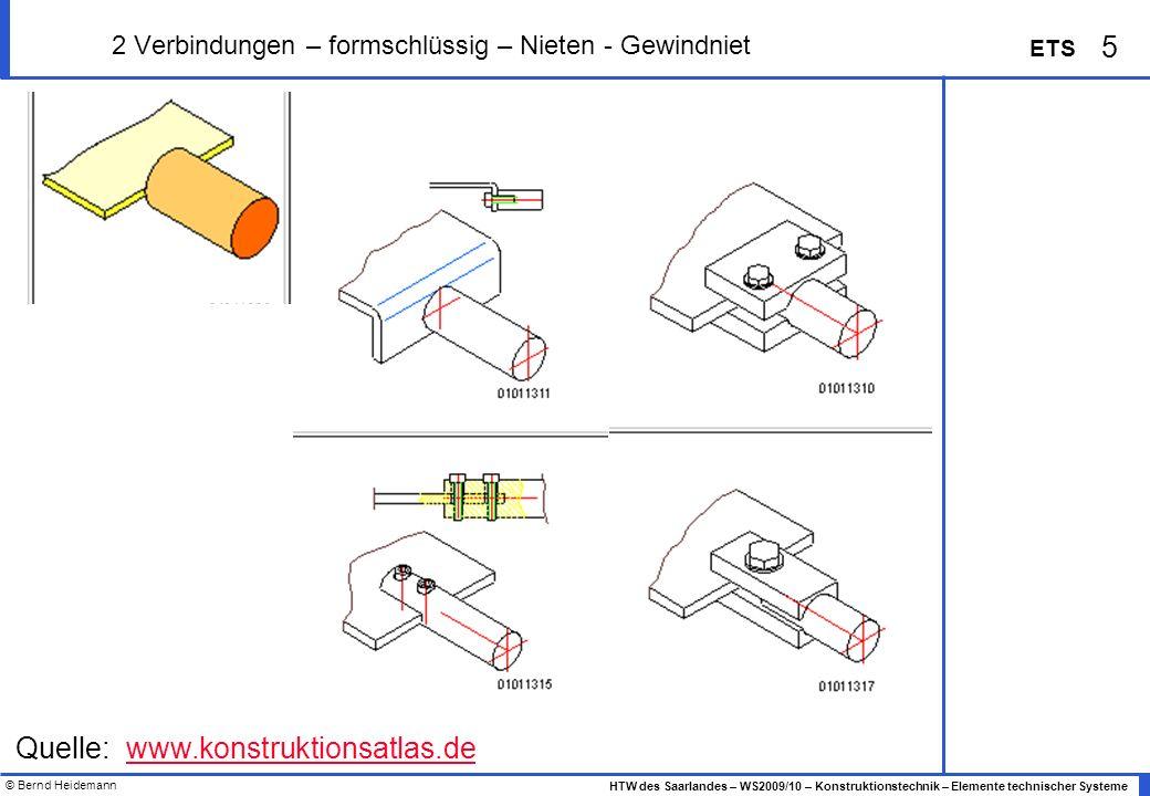 © Bernd Heidemann 5 HTW des Saarlandes – WS2009/10 – Konstruktionstechnik – Elemente technischer Systeme ETS 2 Verbindungen – formschlüssig – Nieten -