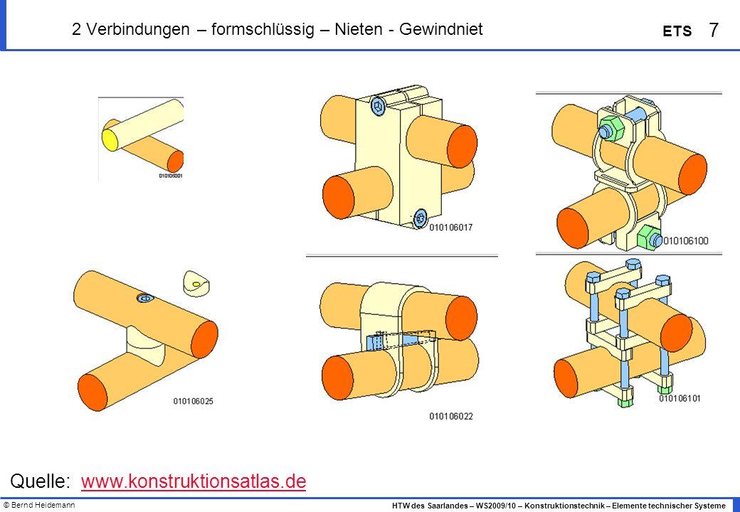 © Bernd Heidemann 7 HTW des Saarlandes – WS2009/10 – Konstruktionstechnik – Elemente technischer Systeme ETS 2 Verbindungen – formschlüssig – Nieten -