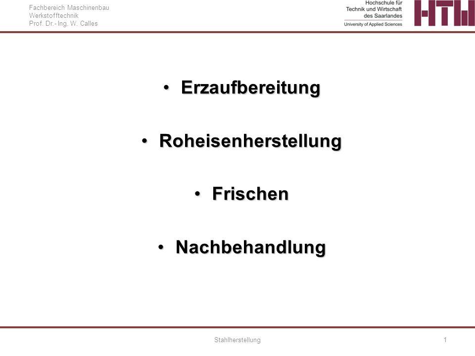 Fachbereich Maschinenbau Werkstofftechnik Prof. Dr.- Ing. W. Calles Stahlherstellung1 ErzaufbereitungErzaufbereitung RoheisenherstellungRoheisenherste