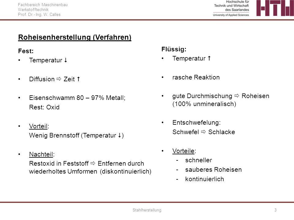 Fachbereich Maschinenbau Werkstofftechnik Prof. Dr.- Ing. W. Calles Stahlherstellung3 Roheisenherstellung (Verfahren) Fest: Temperatur Diffusion Zeit