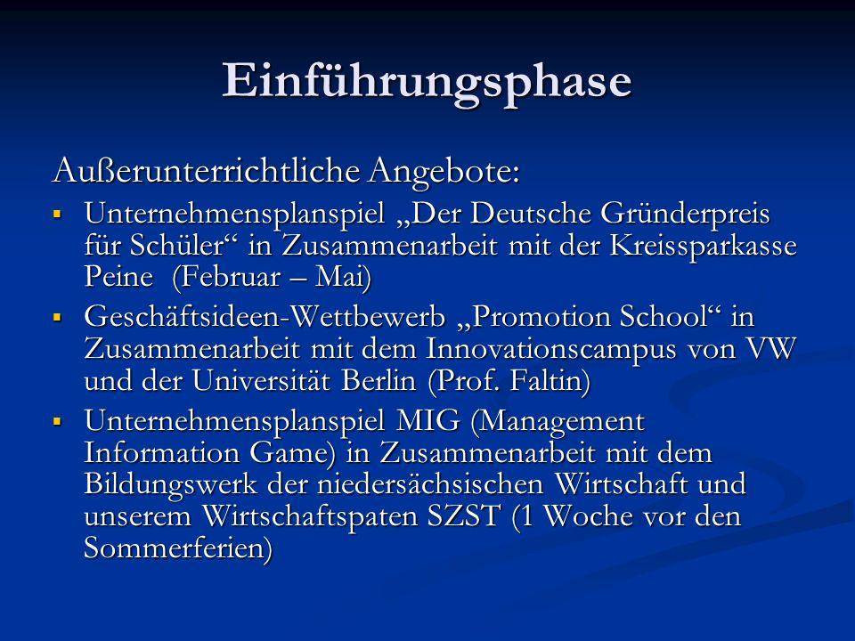 Einführungsphase Außerunterrichtliche Angebote: Unternehmensplanspiel Der Deutsche Gründerpreis für Schüler in Zusammenarbeit mit der Kreissparkasse P