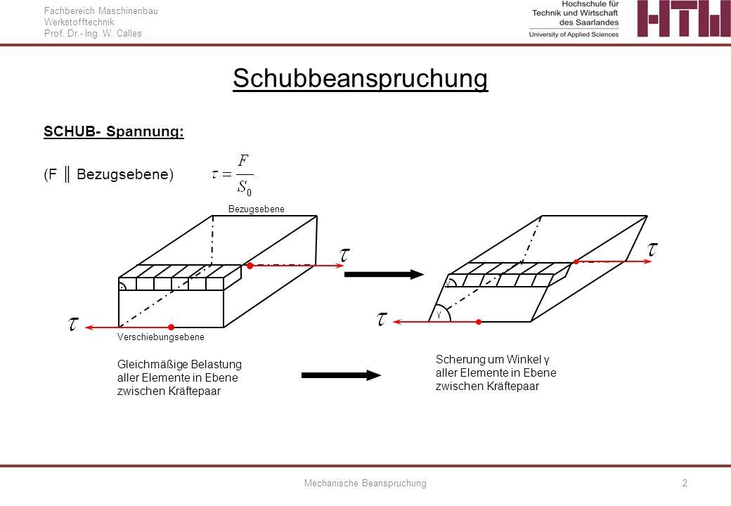 Fachbereich Maschinenbau Werkstofftechnik Prof. Dr.- Ing. W. Calles Mechanische Beanspruchung2 SCHUB- Spannung: (F Bezugsebene) Schubbeanspruchung Bez