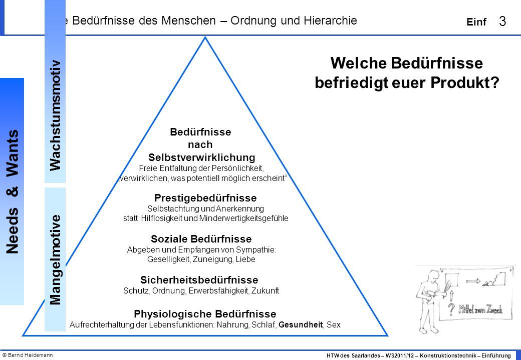 © Bernd Heidemann 3 HTW des Saarlandes – WS2011/12 – Konstruktionstechnik – Einführung Einf Die Bedürfnisse des Menschen – Ordnung und Hierarchie Phys