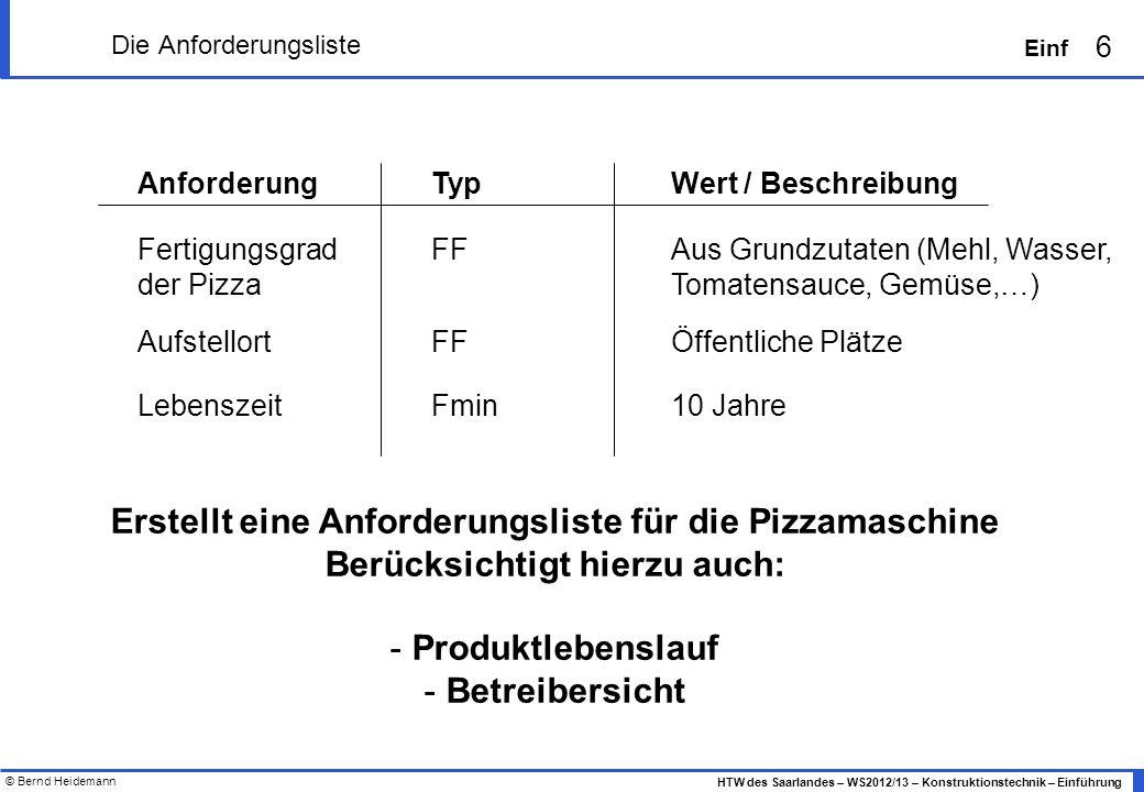 © Bernd Heidemann 6 HTW des Saarlandes – WS2012/13 – Konstruktionstechnik – Einführung Einf Die Anforderungsliste AnforderungTypWert / Beschreibung FF