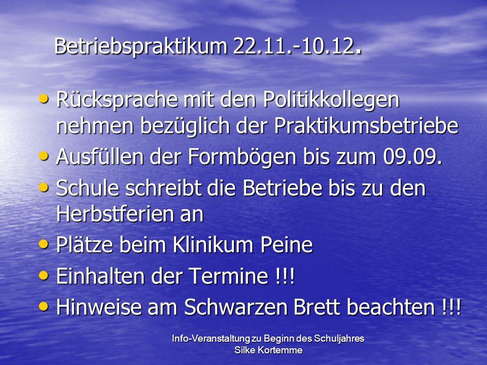 Betriebspraktikum 22.11.-10.12.