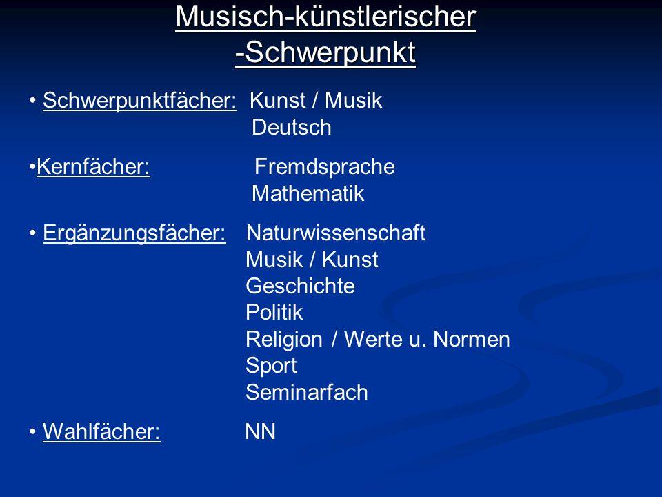 Musisch-künstlerischer -Schwerpunkt Schwerpunktfächer: Kunst / Musik Deutsch Kernfächer: Fremdsprache Mathematik Ergänzungsfächer: Naturwissenschaft M