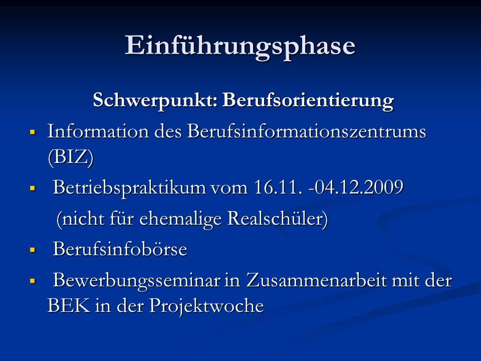 Einführungsphase Schwerpunkt: Berufsorientierung Schwerpunkt: Berufsorientierung Information des Berufsinformationszentrums (BIZ) Information des Beru