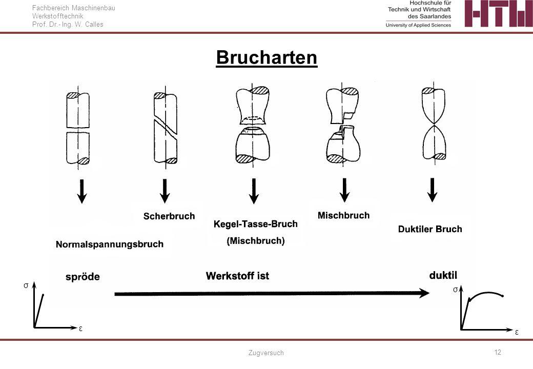 Fachbereich Maschinenbau Werkstofftechnik Prof. Dr.- Ing. W. Calles Zugversuch 12 Brucharten ε σ ε σ