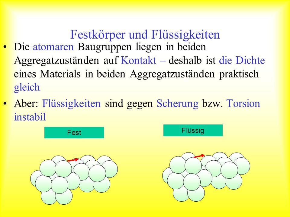 Druck in Flüssigkeiten Im Unterschied zum Festkörper kann eine Flüssigkeit keine Scherspannung aufbauen (der Schubmodul ist 0) Flüssigkeiten können Behälter beliebiger Form ausfüllen Taucht man einen Körper in eine Flüssigkeit, so wirken Kräfte auf die Oberfläche des Körpers.