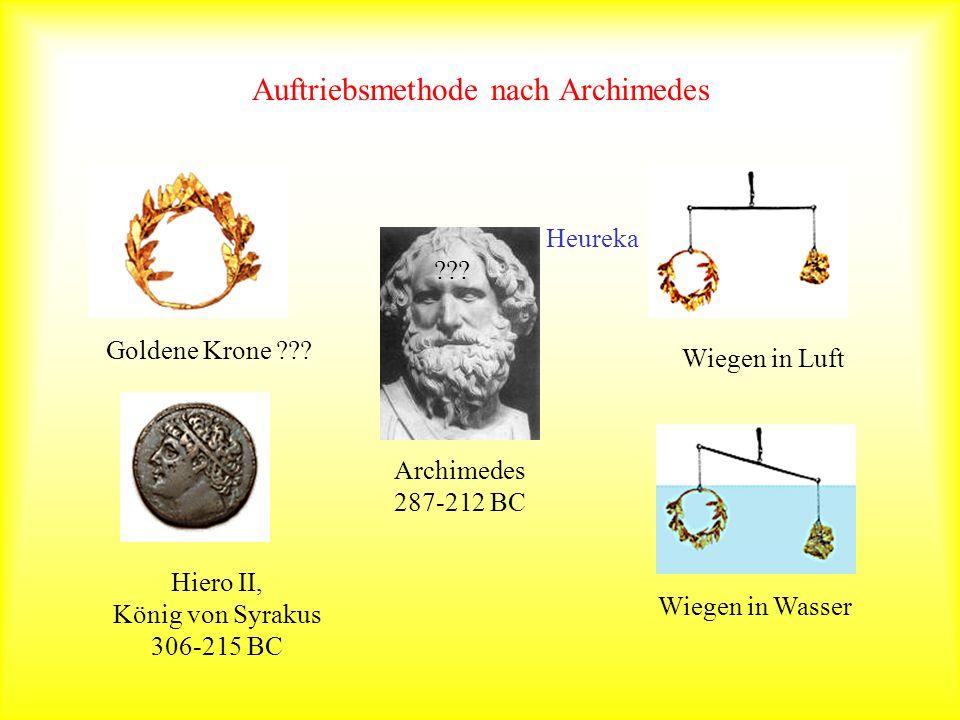 Auftriebsmethode nach Archimedes Goldene Krone ??? Hiero II, König von Syrakus 306-215 BC Wiegen in Luft Wiegen in Wasser ??? Archimedes 287-212 BC He